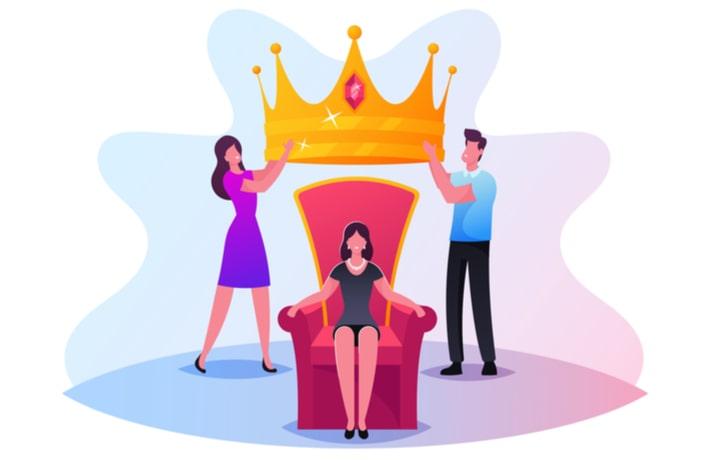 王座につく女性のイラスト