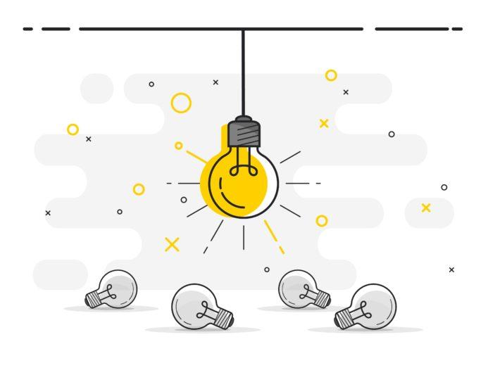 光る電球のイラスト