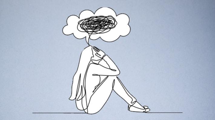 落ち込んでいる女性|イラスト