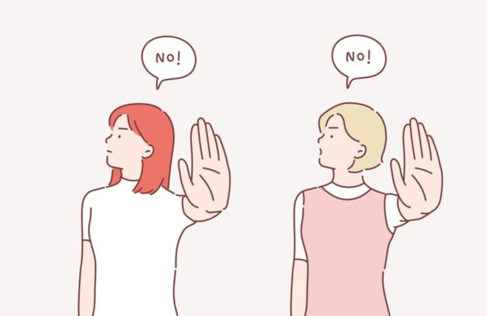 制止する女性2人のイラスト