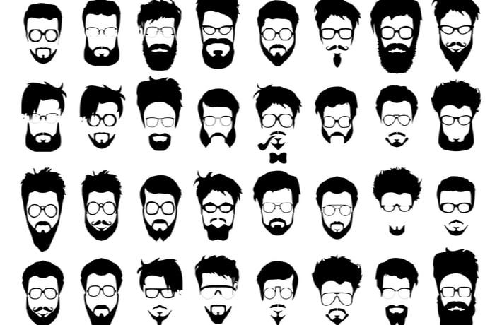 男性の顔が並んだイラスト