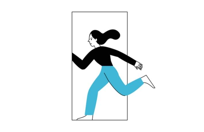 逃げる女性のイラスト