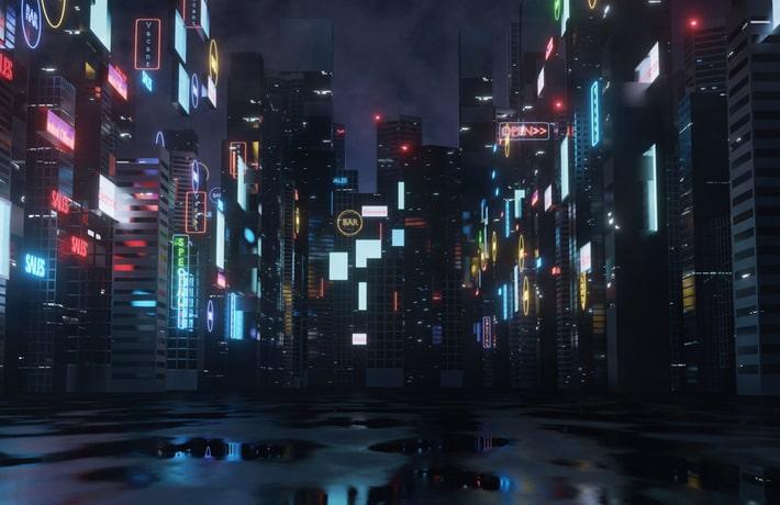夜の繁華街のイラスト