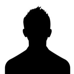 短髪男性のシルエット