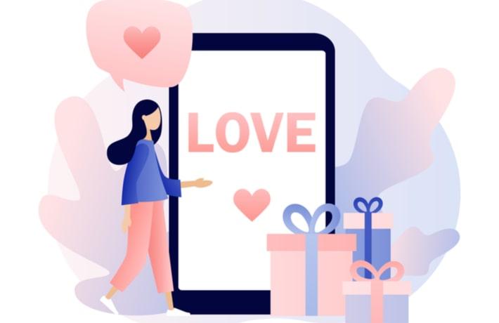 恋する女性とスマートフォン