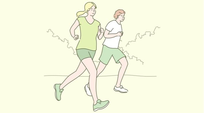ジョギングする夫婦