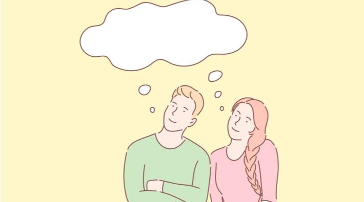 考えるカップル