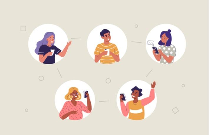 アプリで繋がる人たちのイラスト