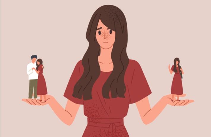 悲しむ女性のイラスト